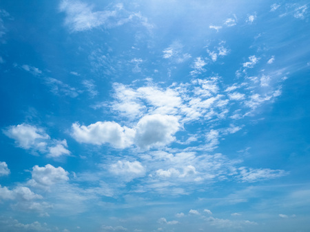 The fluffy cloudy in the blue sky