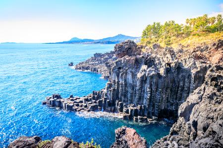 The Daepo Jusangjeolli basalt columnar joints and cliffs on Jeju Island, South Korea
