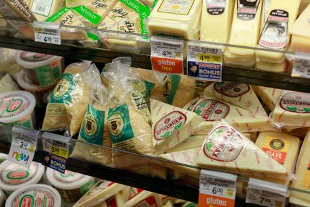 Portland, Oregon, USA - April 26, 2018 : Grocery store shelf in Safeway Grocery Store in downtown Portland, Oregon