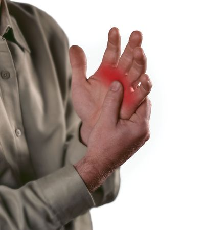 Arthritis pain in the joints of the knuckles.