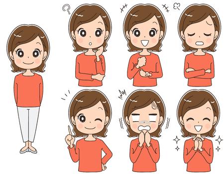Illustration pour A middle-aged woman has various facial expressions, vector illustration. - image libre de droit