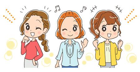Ilustración de Working women group is happy - Imagen libre de derechos