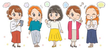 Ilustración de Fashionable female group of around 30 years old vector illustration - Imagen libre de derechos