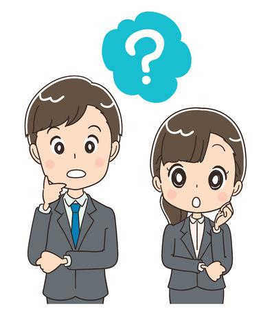 Illustration pour Young businessmen and men ask questions. - image libre de droit