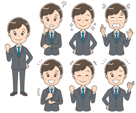 Illustration pour A collection of young businessmen with different expressions. - image libre de droit