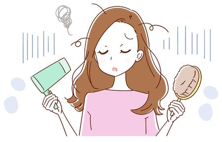 Illustration pour A woman is confused by hair trouble Vector illustration. - image libre de droit