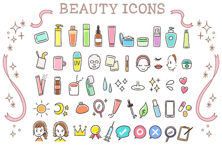 Ilustración de Collection set of beauty icons - Imagen libre de derechos