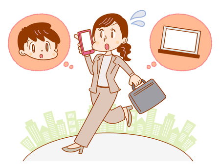 Illustration for A business woman thinking about a child and work - Royalty Free Image
