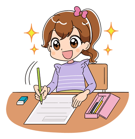Ilustración de A girl is working on the test. She is shining full of hope with a smile. - Imagen libre de derechos