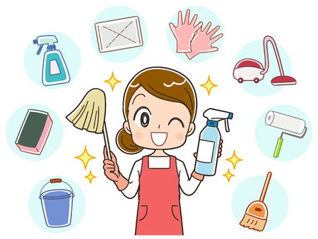 Illustration pour A housewife does a variety of cleaning - image libre de droit