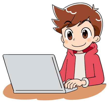 Illustration pour A boy is using a computer - image libre de droit