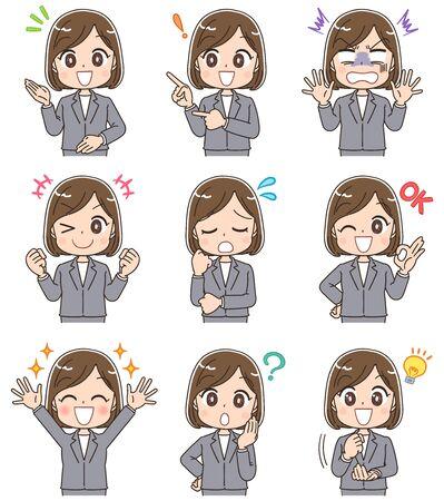 Ilustración de Young business woman has various facial expressions. - Imagen libre de derechos