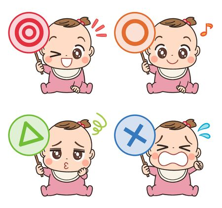 Illustration for A cute baby in pink clothes.She has a tag that represents the symbol. - Royalty Free Image