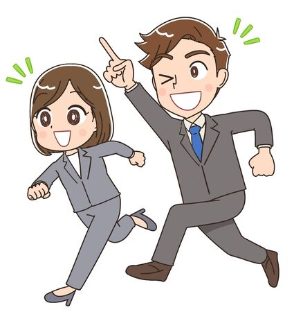 Illustration pour Young businessman and businesswoman.They are running forward. - image libre de droit