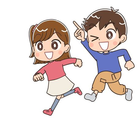 Illustration pour Elementary school boy and girl.They have positive emotions. - image libre de droit