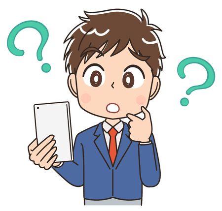 Vektor für A high school boy in a blazer uniform.He uses a smartphone. - Lizenzfreies Bild