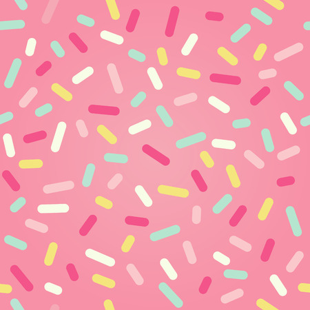 Illustration pour Seamless background with pink donut glaze and many decorative sprinkles - image libre de droit