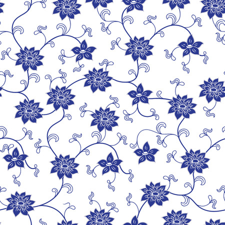 Foto de Hand drawn chinese porcelain seamless pattern with flowers - Imagen libre de derechos