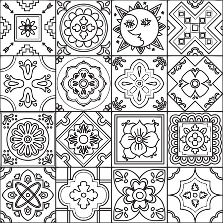 Talavera set of 16 mexican tiles. Seamless pattern. Adult coloring ...