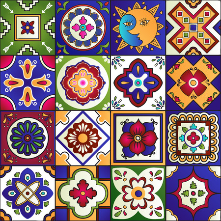 Illustration for Talavera set of 16 mexican tiles. Seamless pattern - Royalty Free Image