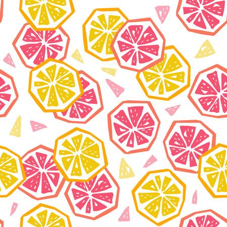 Ilustración de Half lemon and grapefruit seamless pattern. Stylized fruit geometric design - Imagen libre de derechos