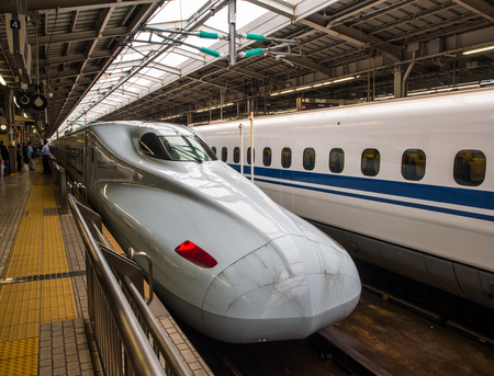 Osaka, Japan - Jun 7,2016 : Shinkansen high speed bullet train, the most famous symbol of Japanese technology. The shape of a train is so streamline for wind to flow, such a good aerodynamics design.