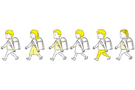 Illustration pour Hand-painted 1color boy girl 6 people walk ingress up a randoseru - image libre de droit