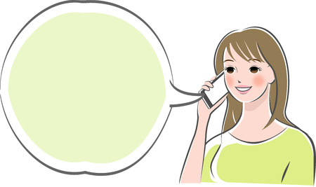 Illustration pour Woman making phone call with smartphone - image libre de droit