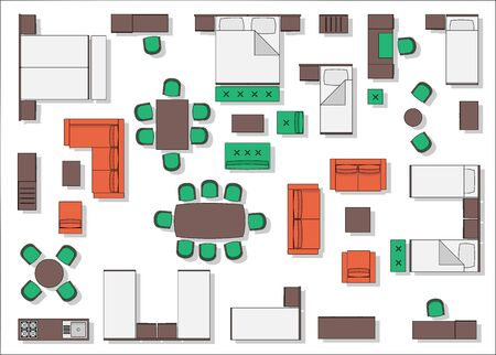 Illustration for Hotel furniture top view color - Royalty Free Image