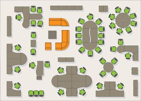 Illustration pour Office furniture top view color - image libre de droit