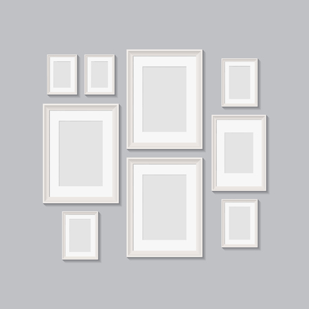 Illustration pour blank picture frames for photographs. vector realisitc mockup with borders. design template on transparent background - image libre de droit