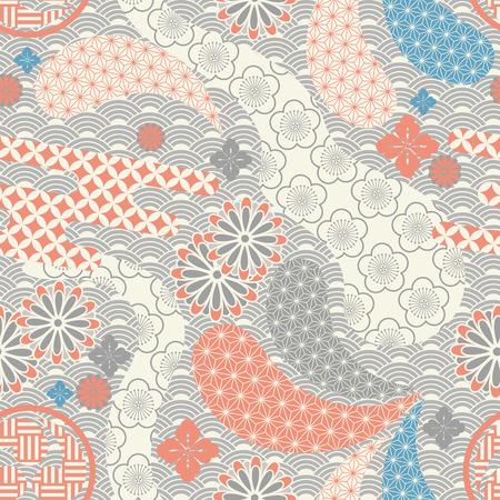 Seamless japanese style pattern. illustration vector.