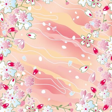 Seamless japanese cherry blossoms frame. Illustration vector.