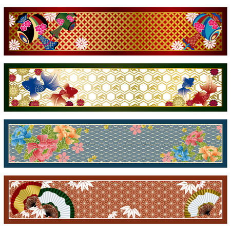 Japanese traditional banners. Illustration.