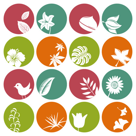 Illustration pour Nature icons set. Illustration vector. - image libre de droit