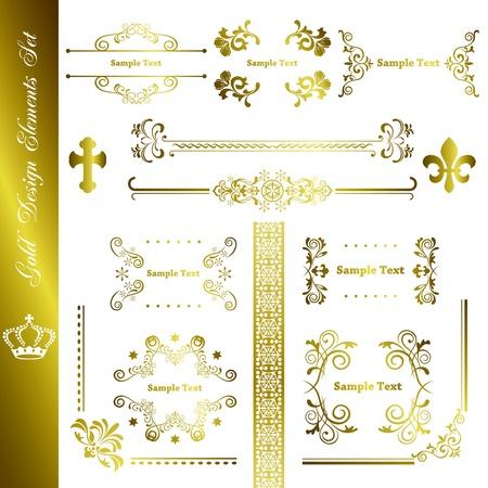 Gold design elements set. Illustration vector.