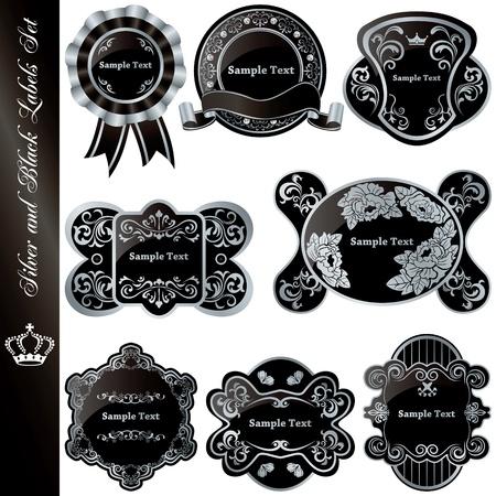 Silver and black luxury frames set. Illustration vector.