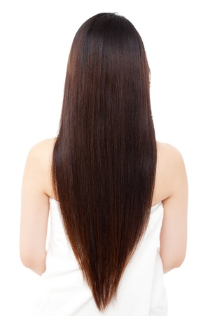 Beautiful hair woman on white backgroundの写真素材