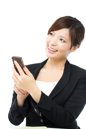 Beautiful businesswoman on white backgroundの写真素材