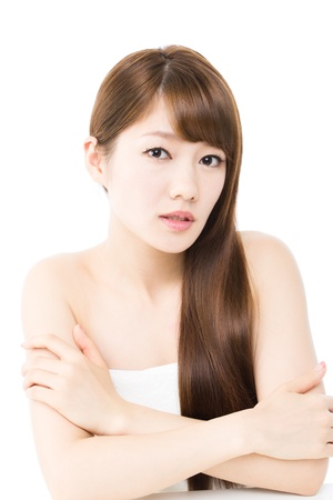Beautiful young woman on white backgroundの写真素材