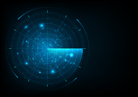 Illustration pour Digital blue realistic vector radar with targets on monitor in searching. Air search. Military search system. Navigation interface wallpaper. - image libre de droit