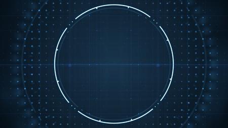 Foto de Technological future  user interface hud with spinning circles on dark blue background .Technology background concept. - Imagen libre de derechos