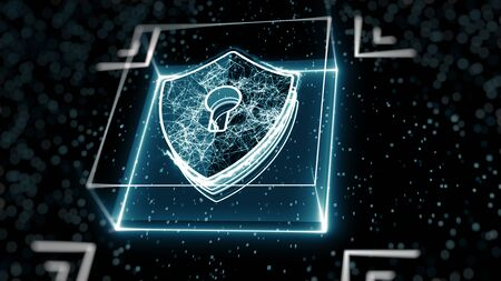 Foto de Abstract cyber security concept. Shield With Keyhole icon on digital data background. Illustrates cyber data security or information privacy idea. Blue abstract hi speed internet technology. - Imagen libre de derechos