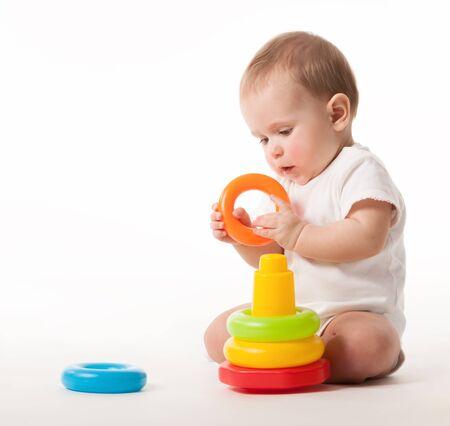 Foto für Charming cute baby in white overalls - Lizenzfreies Bild