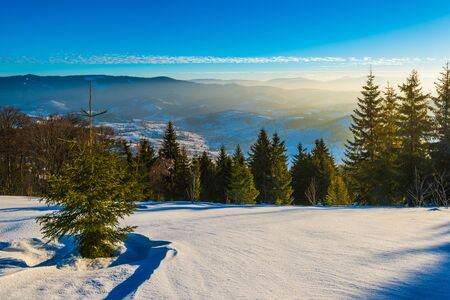 Photo pour Beautiful panorama of a snowy slope with a forest and a view of the snowy mountain ranges covered in fog on a frosty sunny winter day. Winter mountain vacation concept - image libre de droit