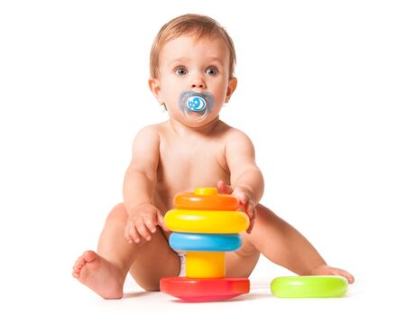 Photo for Cute baby playing with toy. - Royalty Free Image