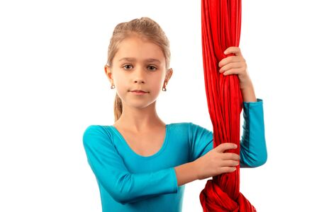 Portrait of a pretty little girl gymnast