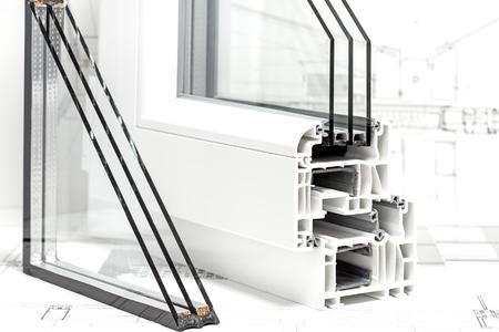 Photo pour pvc windows design cross section triple glazing - image libre de droit