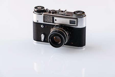 Photo for Retro film photo camera, old vintage camera - Royalty Free Image