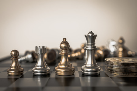 Photo for Chess board game concept of business ideas and competition and strategy plan success meaning. - Royalty Free Image